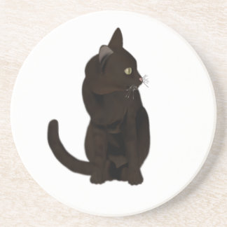 Black Cat Sandstone Coaster