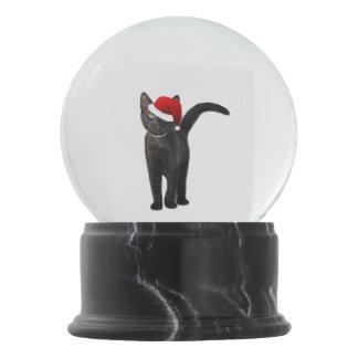 Black Cat Santa Snow Globe