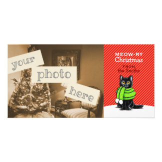 Black Cat Scarf Christmas Red Stripe Customized Photo Card
