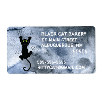 Black Cat scratching black watercolor Business Shipping Label