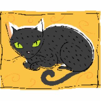Black Cat Sculpture Photo Sculpture Badge