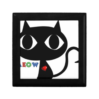 Black Cat Silhouett with Red Heart and Cute Meow Gift Box