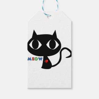 Black Cat Silhouett with Red Heart and Cute Meow Gift Tags