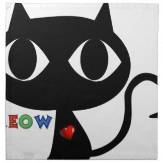 Black Cat Silhouett with Red Heart and Cute Meow Napkin