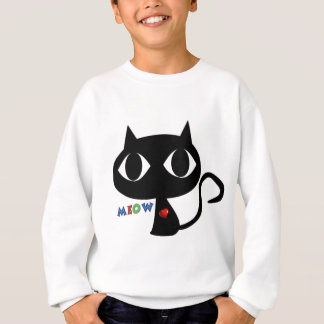 Black Cat Silhouett with Red Heart and Cute Meow Sweatshirt