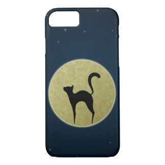 Black cat silhouette and moon iPhone 7 case