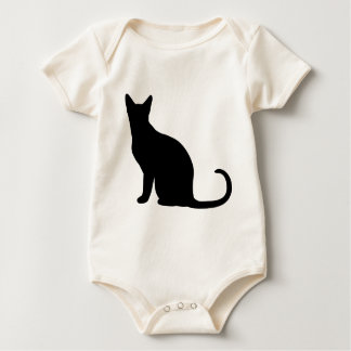 Black Cat Silhouette Baby Bodysuit