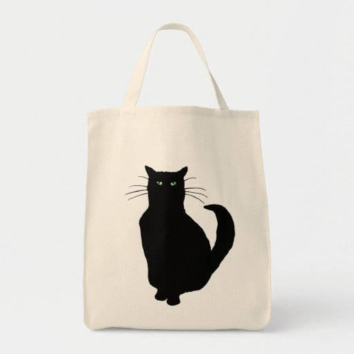 Black Cat Silhouette Grocery Tote Bag