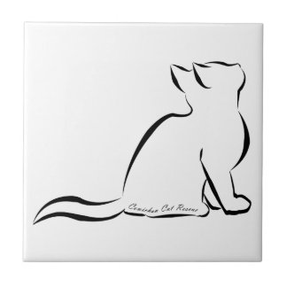Black cat silhouette, inside text ceramic tile