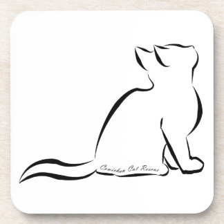Black cat silhouette, inside text drink coasters