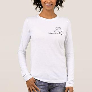 Black cat silhouette, inside text long sleeve T-Shirt