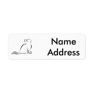 Black cat silhouette, inside text return address label