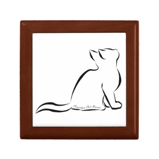 Black cat silhouette, inside text small square gift box