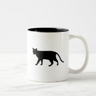 Black Cat Silhouette Kitten Purr Meow Simple Art Two-Tone Coffee Mug