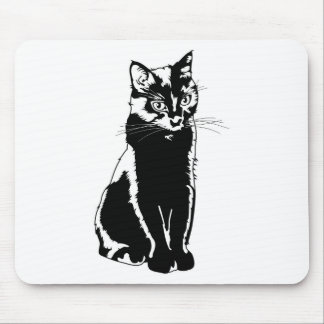 Black Cat Silhouette Mouse Pad