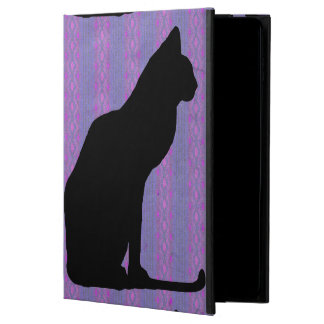 Black Cat Silhouette on Purple Stripes