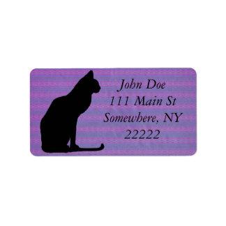 Black Cat Silhouette on Purple Stripes Address Label