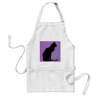 Black Cat Silhouette on Purple Stripes Aprons