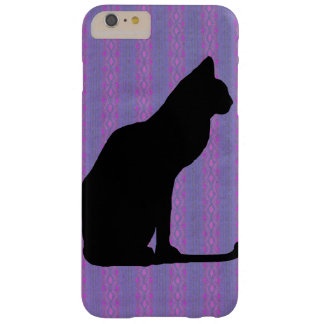Black Cat Silhouette on Purple Stripes Barely There iPhone 6 Plus Case