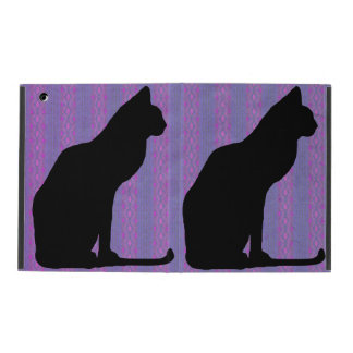 Black Cat Silhouette on Purple Stripes iPad Folio Case