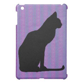 Black Cat Silhouette on Purple Stripes Case For The iPad Mini