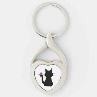 Black Cat Silhouette Pink Butterfly Key Ring