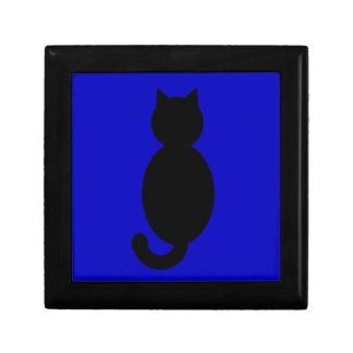 Black Cat Silhouette Small Square Gift Box