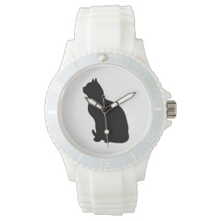 Black cat silhouette watch