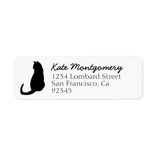 Black Cat Silhouette White Return Address Label
