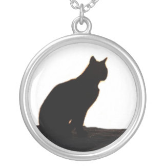 Black cat siloutte round pendant necklace