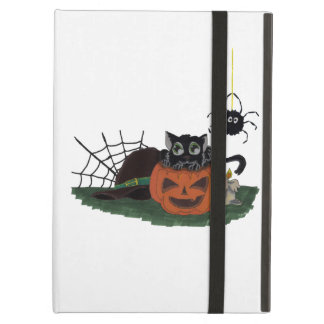 Black Cat sits on a Jack o Lantern with Spider Case For iPad Air