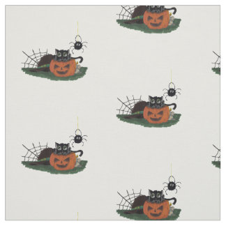 Black Cat sits on a Jack o Lantern with Spider Fabric