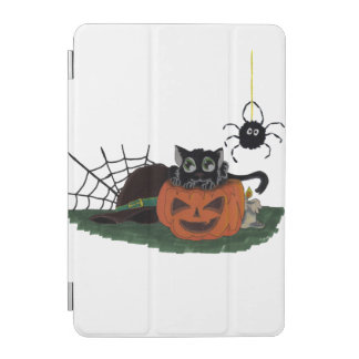 Black Cat sits on a Jack o Lantern with Spider iPad Mini Cover