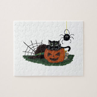 Black Cat sits on a Jack o Lantern with Spider Jigsaw Puzzle