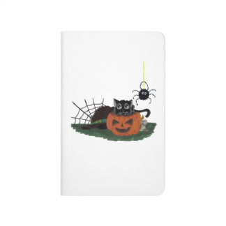 Black Cat sits on a Jack o Lantern with Spider Journal