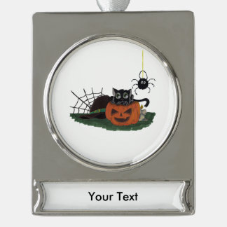 Black Cat sits on a Jack o Lantern with Spider Silver Plated Banner Ornament