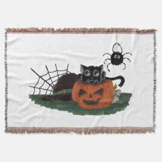 Black Cat sits on a Jack o Lantern with Spider Throw Blanket