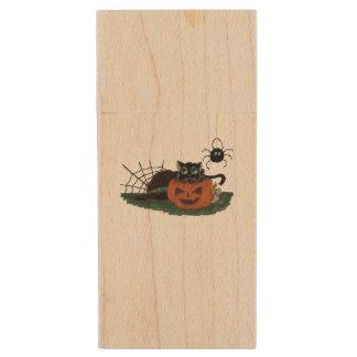 Black Cat sits on a Jack o Lantern with Spider Wood USB Flash Drive