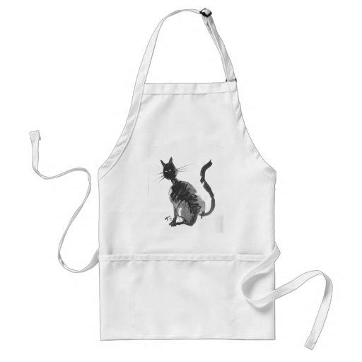 black cat sitting apron