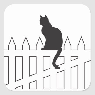 Black Cat Sitting on White Picket Fence Waiting Square Sticker
