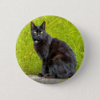 Black cat sitting outdoor 6 cm round badge