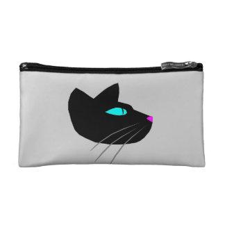 """BLACK CAT"" SMALL GREY COSMETIC BAG"