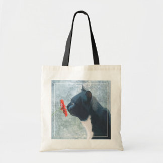 Black Cat Sniffing Flower Budget Tote Bag