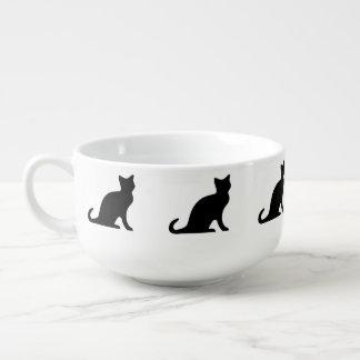 Black cat soup bowl | mug with kitty pattern