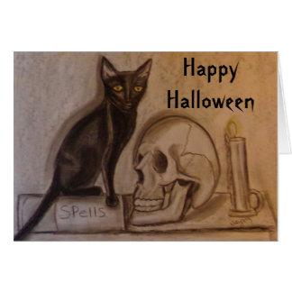 Black Cat Spells - Halloween - Greeting Card
