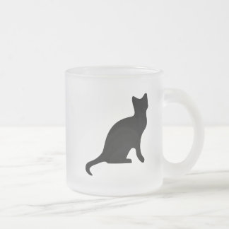 Black Cat - Spooky Scary Frosted Glass Coffee Mug