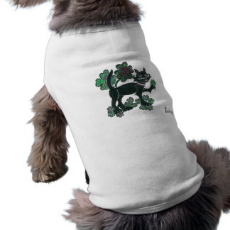 Black Cat standing over those four leaf clovers. Sleeveless Dog Shirt