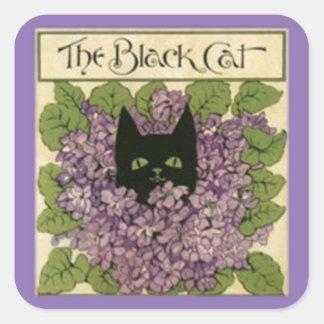 Black Cat Stickers, 1898 Cat Image Square Sticker