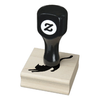 Black Cat Stretching Rubber Stamp