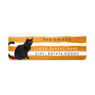 Black cat stripes address label